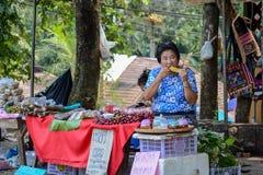 Selling food at Doi tung. Chiangrai, Thailand - April 14, 2014: People are selling food at Doi tung, Chiangrai, Thailand Royalty Free Stock Images