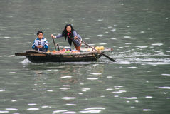 Selling fruit on boat in halong bay Stock Photography