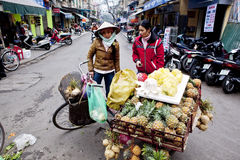 Selling fruit vendors in Vietnam, Hanoi Stock Photos