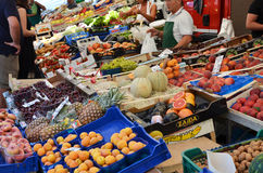 Selling fruits on marked. Selling fruits and vegetables on marked in Cannobio, Lake Maggiore, Italy Royalty Free Stock Images