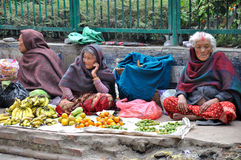Selling Fruits. At the street of Kathmandu which is the capital and largest urban agglomerate of Nepal royalty free stock photo