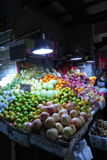 Selling fruits in wet market in downtown Shanghai.. Stock Photo