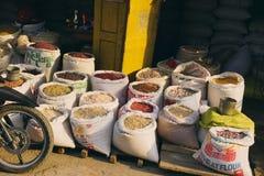 Selling goods rice beans market stand Mandalay Yangon Myanmar Bu Stock Images