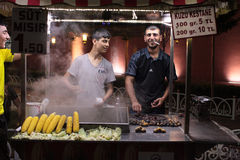 Selling grilled corn and chestnuts. Istanbul, Turkey Stock Image