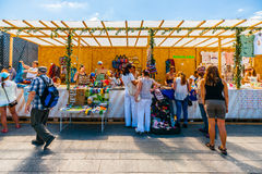 Selling handcraft in Museon park of Moscow Royalty Free Stock Images