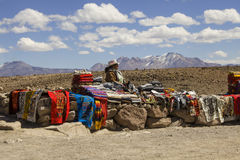 Selling handicrafts outdoors in Peru Stock Image