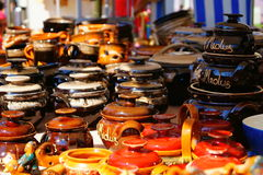 Selling handmade clay pots. royalty free stock photography