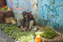 Selling herbs in the souk Stock Image