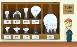 Selling Idea. Guy opens a idea shop, selling ideas with ranging price vector illustration