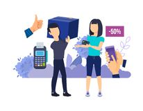 Selling interaction and purchasing process. Selection goods, purchase, ordering delivery. Selling interaction and purchasing process, online delivery. Selection royalty free illustration