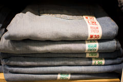 Selling jeans Royalty Free Stock Images