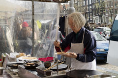 Selling and making fresh crepes at the market Royalty Free Stock Photos