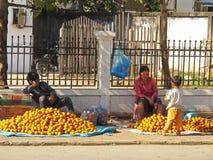 Selling mandarines Stock Image