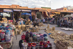 Selling in Marrakesh main square Stock Photography