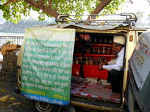 Selling medicine in Mumbai small lanes,Bandra. Royalty Free Stock Images