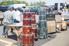 Selling musical instruments outdoor. Columbus, NJ June 9, 2019: Selling musical instruments outdoor - Image stock image