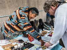 Selling Navajo Jewelry In Albuquerque Royalty Free Stock Photography