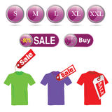 Selling off t-shirt and illustration sizes Royalty Free Stock Photography