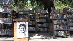 Selling Old Books and Posters in Old Havana stock video footage