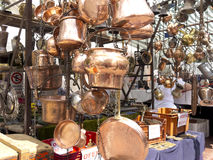 Selling old copper cookware Stock Image