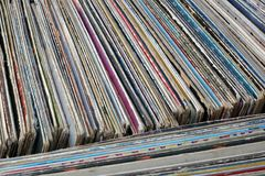 Stack of used vinyl records in covers put on sale Royalty Free Stock Photo