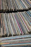 Stack of used vinyl records in covers put on sale Royalty Free Stock Photography