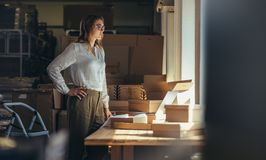 Selling online business owner at office stock images