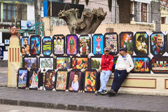 Selling Paintings in Banos, Ecuador Royalty Free Stock Photo