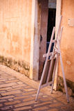 Selling of paintings on a street of an old town in the Southern Royalty Free Stock Photos