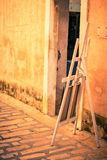 Selling of paintings on a street of an old town in the Southern Royalty Free Stock Photo