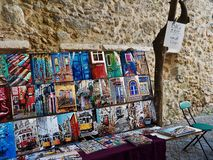Selling photos in Lisbon stock image