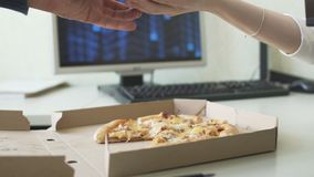 Selling pizza for bitcoins stock footage