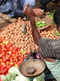 Selling potatoes at the  weekly market Stock Photography
