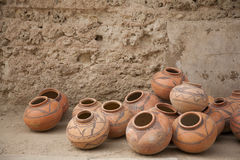Selling potery in Fatehpur Stock Photos