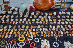 Selling precious stones at street market stock photo