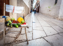Selling raw fruits and vegetables Royalty Free Stock Photography