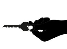 Selling Real Estate. Vector illustration of giving a key on white background Stock Photography