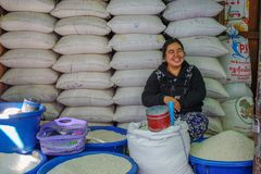 Selling rice at market in Taunggyi, Myanmar royalty free stock photography