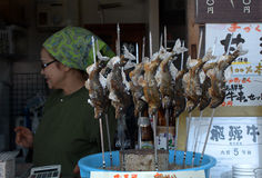 Selling river fish at the market, Takayama, Japan Stock Photos