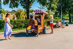 Selling roasted chestnuts in Moscow Gorky park Stock Photos