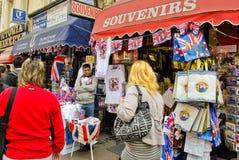 Selling royal wedding souvenirs Royalty Free Stock Image