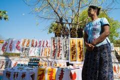 Selling sand paintings in Bagan, Myanmar Stock Photos