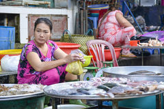 Selling sea food, Mekong delta, Vietnam Stock Photography