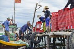 Selling sea food in Vietnam Royalty Free Stock Image