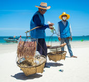 Selling seafood on the beach Royalty Free Stock Images