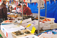 Selling seafood on the market in Delft, Netherlands Royalty Free Stock Images