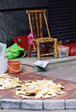 Selling shark's fin. A street vendor plot in Hongkong's backstreets, shark's fin for sale, spread on the pavement royalty free stock images