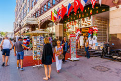 Selling souvenirs in Arbat street of Moscow. Russia, on Sunday, July 13, 2014. Arbat is a pedestrian street of tourist interest about one kilometer long in the Royalty Free Stock Images