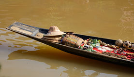 Selling souvenirs on boat at the Inle lake, Myanmar Stock Photo