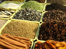 Selling Spices of India. Roadside stall selling Spices used in Indian traditional food Stock Photos